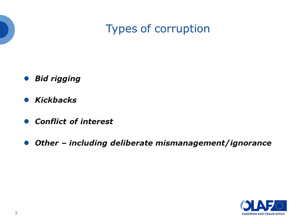 Types of corruption Bid rigging Kickbacks Conflict of interest Other – including deliberate mismanagement/ignorance 5