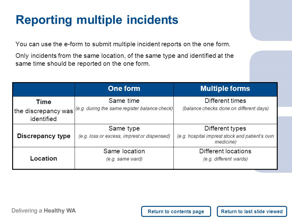 Reporting multiple incidents You can use the e-form to submit multiple incident reports on the one form.