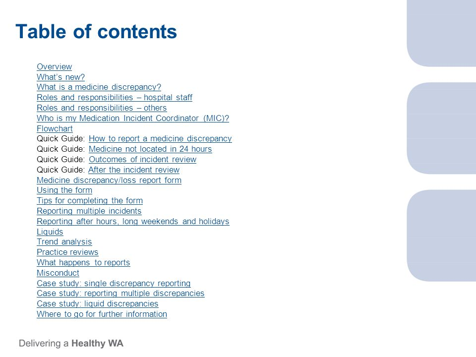 Table of contents Overview What's new. What is a medicine discrepancy.