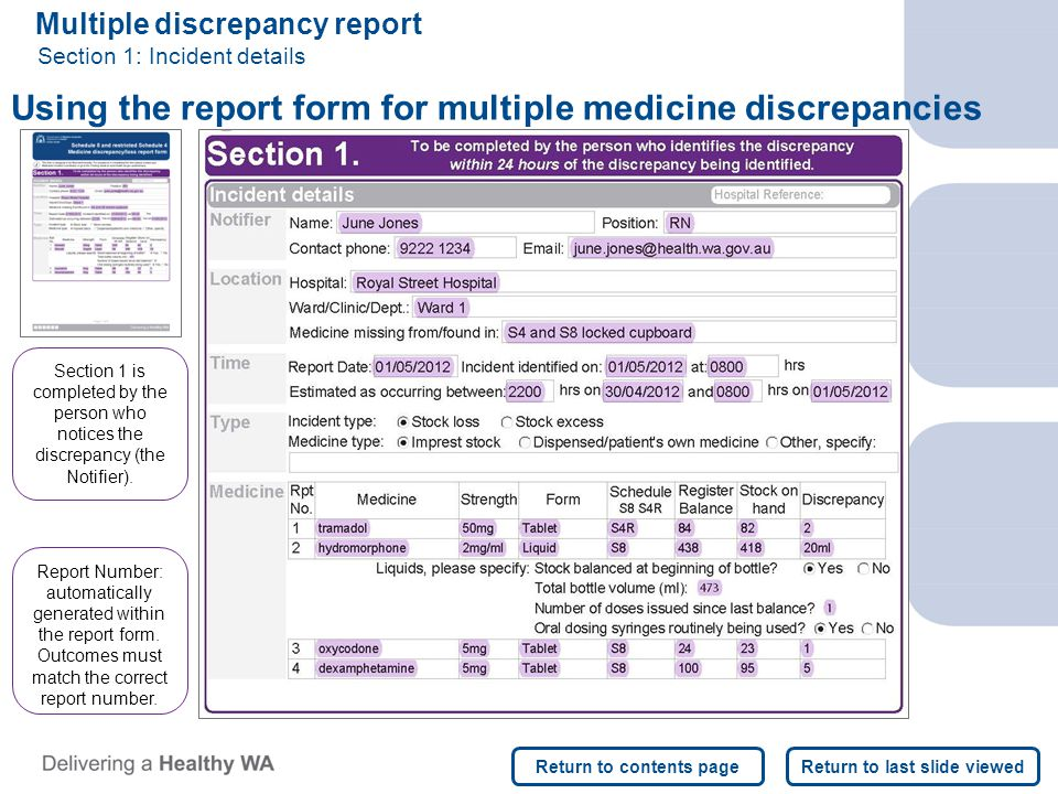 Multiple discrepancy report Section 1: Incident details Using the report form for multiple medicine discrepancies Report Number: automatically generated within the report form.