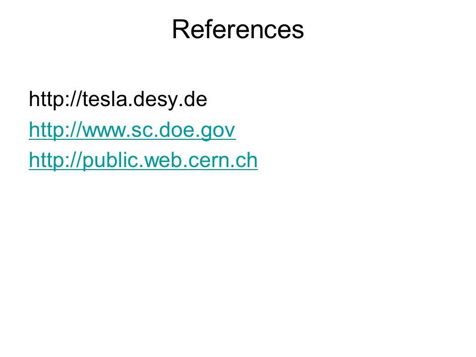 References http://tesla.desy.de http://www.sc.doe.gov http://public.web.cern.ch