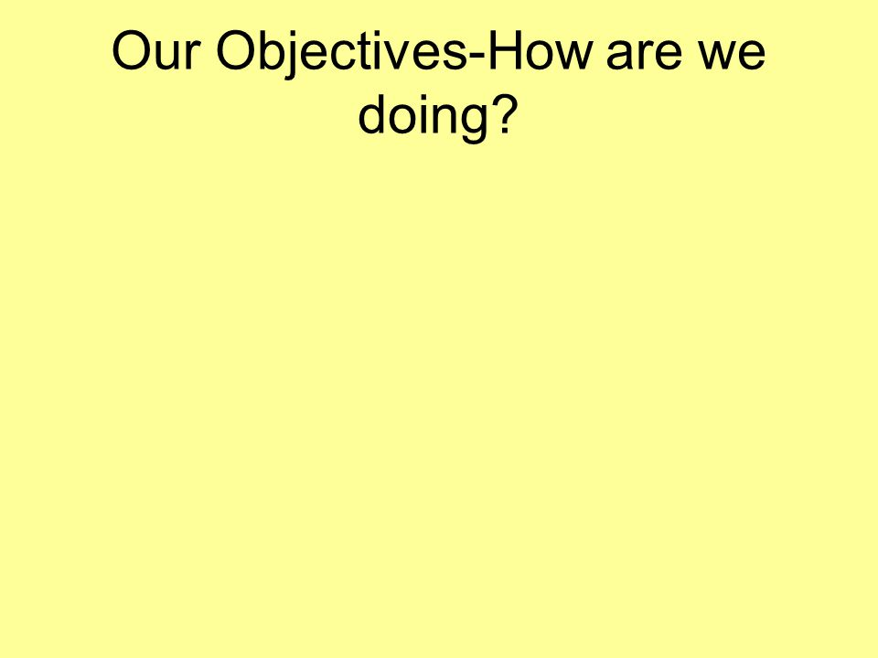 Our Objectives-How are we doing