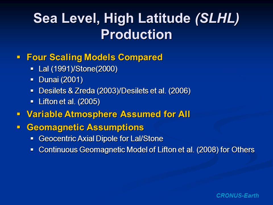 Sea Level, High Latitude (SLHL) Production CRONUS-Earth  Four Scaling Models Compared  Lal (1991)/Stone(2000)  Dunai (2001)  Desilets & Zreda (2003)/Desilets et al.