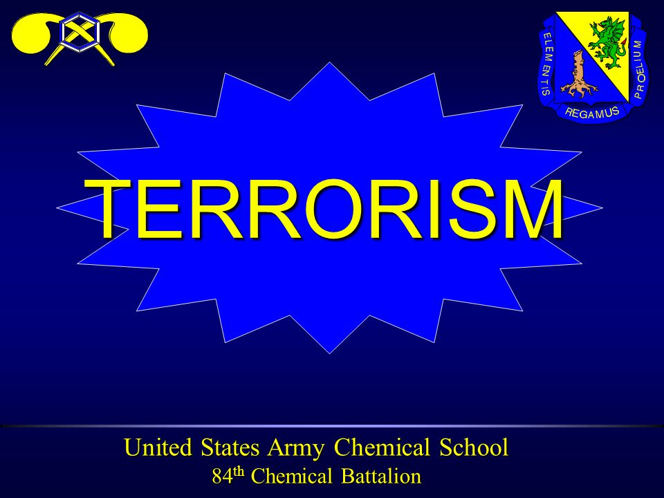 United States Army Chemical School 84 th Chemical Battalion INFORMATION OBJECTIVE ä Become familiar with the nature of terrorist threat.