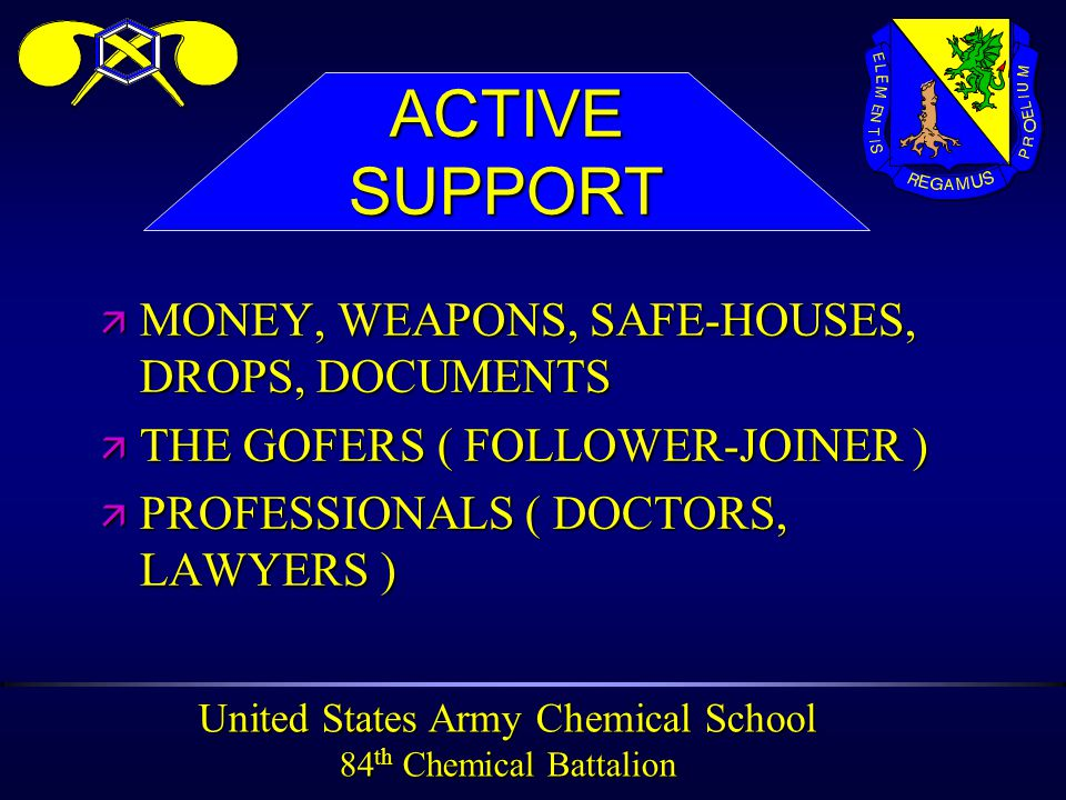 United States Army Chemical School 84 th Chemical Battalion ä MONEY, WEAPONS, SAFE-HOUSES, DROPS, DOCUMENTS ä THE GOFERS ( FOLLOWER-JOINER ) ä PROFESSIONALS ( DOCTORS, LAWYERS ) ACTIVESUPPORT