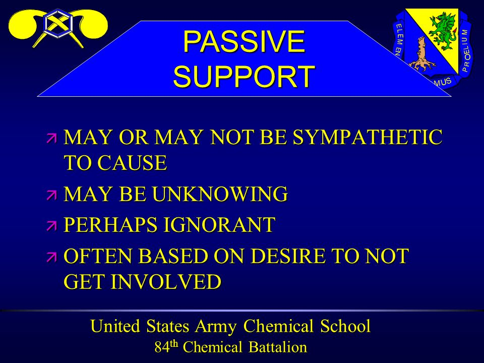 United States Army Chemical School 84 th Chemical Battalion ä MAY OR MAY NOT BE SYMPATHETIC TO CAUSE ä MAY BE UNKNOWING ä PERHAPS IGNORANT ä OFTEN BASED ON DESIRE TO NOT GET INVOLVED PASSIVESUPPORT