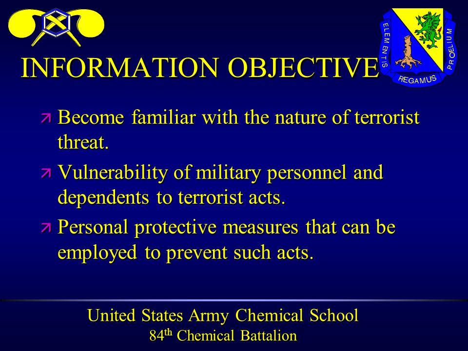 United States Army Chemical School 84 th Chemical Battalion PROFILEPROFILE ä AGE 22 - 35 ä SEX - 50% MALE ä SINGLE ä URBAN ORIGIN ä MIDDLE CLASS ä MARXIST ä 2/3 UNIVERSITY TRAINING ä RECRUITED FROM UNIVERSITIES OR PRISONS