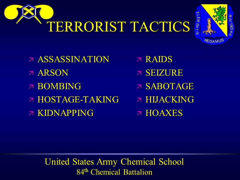 United States Army Chemical School 84 th Chemical Battalion TERRORIST TACTICS ä ASSASSINATION ä ARSON ä BOMBING ä HOSTAGE-TAKING ä KIDNAPPING ä RAIDS ä SEIZURE ä SABOTAGE ä HIJACKING ä HOAXES