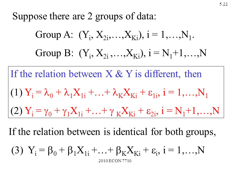 2010 ECON 7710 5.21 2. Are Two Equations Equal