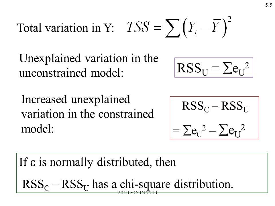 2010 ECON 7710 5.4 Unconstrained model: Y i =  0 +  1 X 1i +  2 X 2i + … +  K X Ki +  i  ESS U, RSS U.
