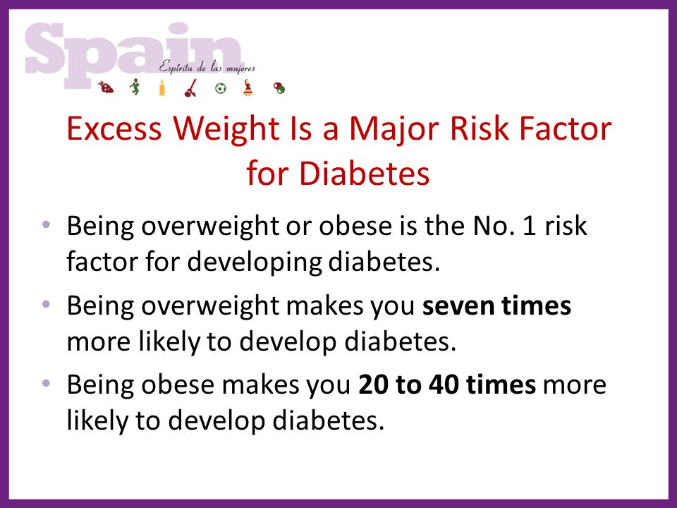 Excess Weight Is a Major Risk Factor for Diabetes Being overweight or obese is the No. 1 risk factor for developing diabetes. Being overweight makes y