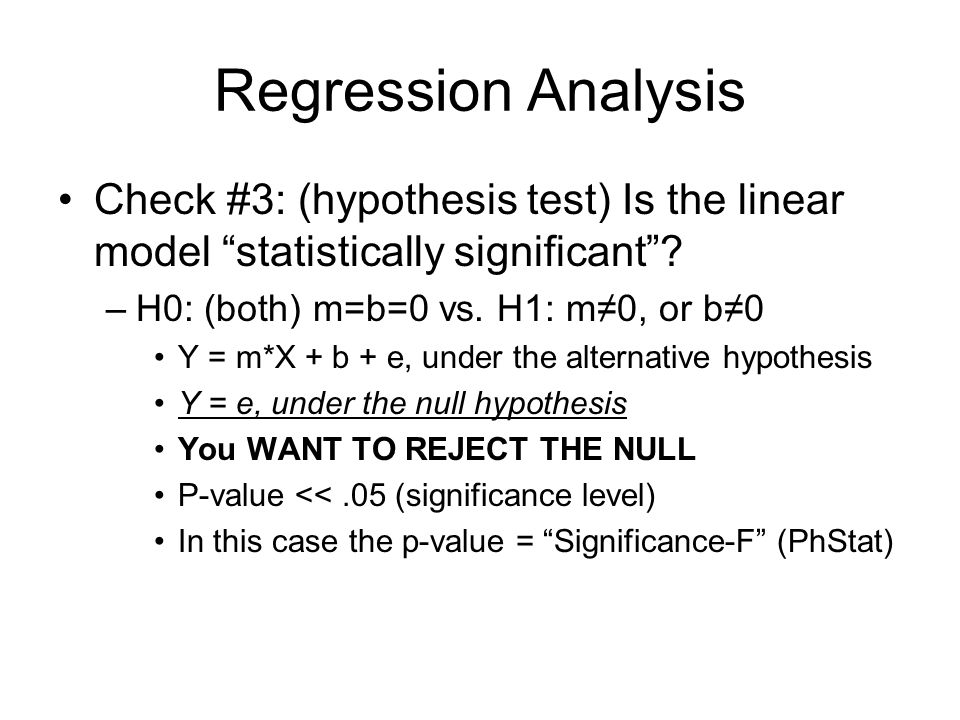 Regression Analysis Check #4: two separate hypothesis tests—one for the slope term, m, by itself; the other for the intercept term, b, by itself.