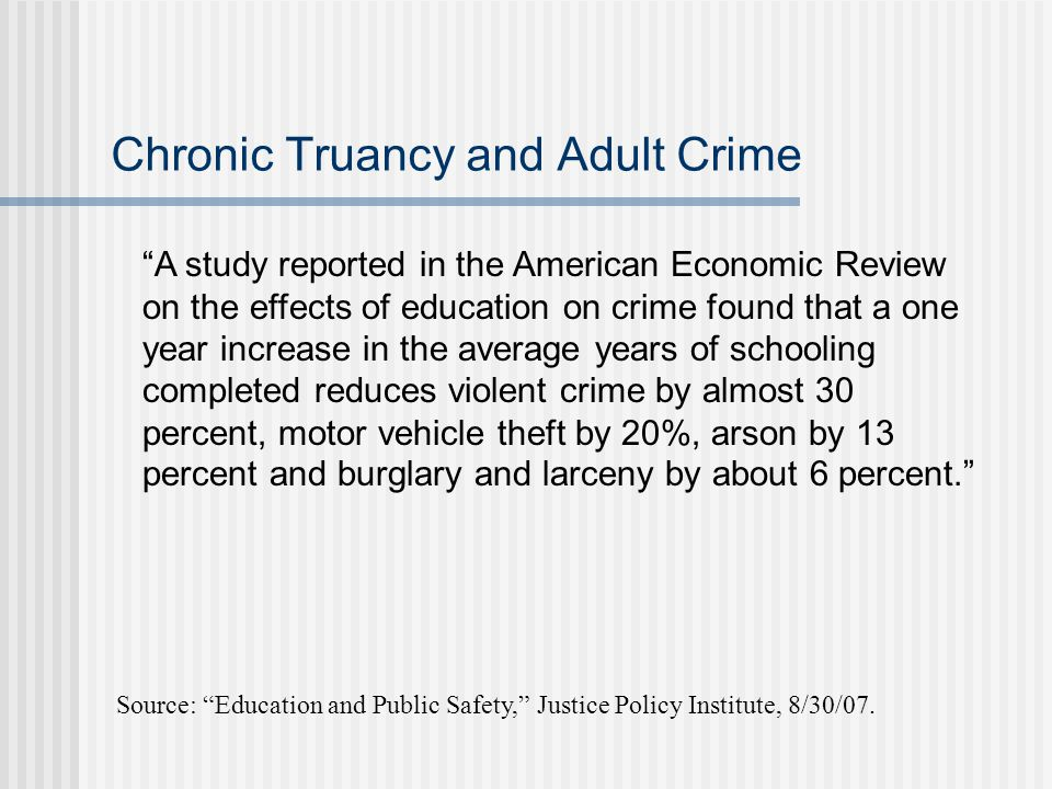 Chronic Truancy and Adult Crime Source: Education and Public Safety, Justice Policy Institute, 8/30/07.