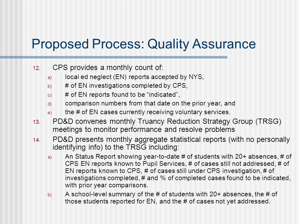 Proposed Process: Quality Assurance 12.