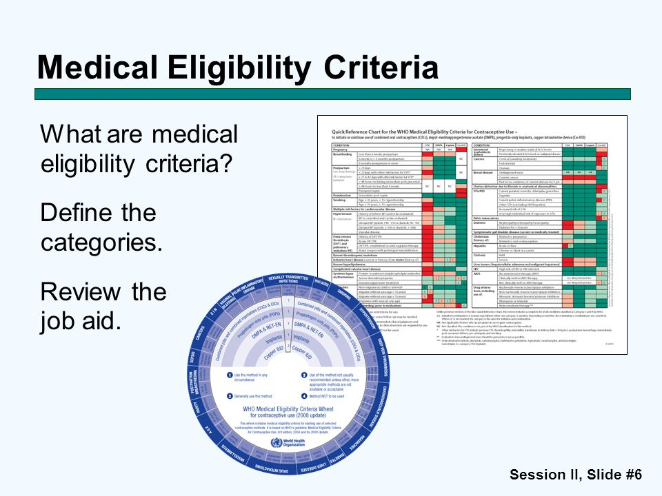 Session II, Slide #6 Medical Eligibility Criteria What are medical eligibility criteria? Define the categories. Review the job aid.