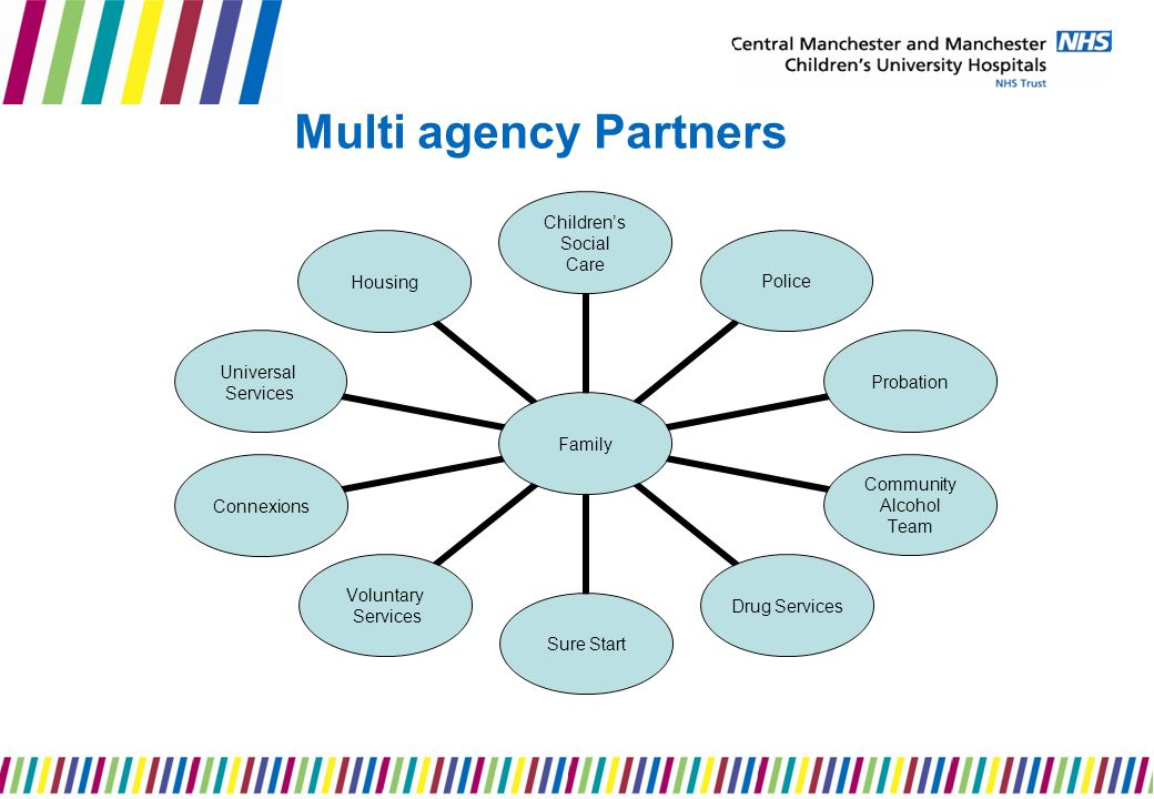 Multi agency Partners Family Children's Social Care PoliceProbation Community Alcohol Team Drug Services Sure Start Voluntary Services Connexions Universal Services Housing