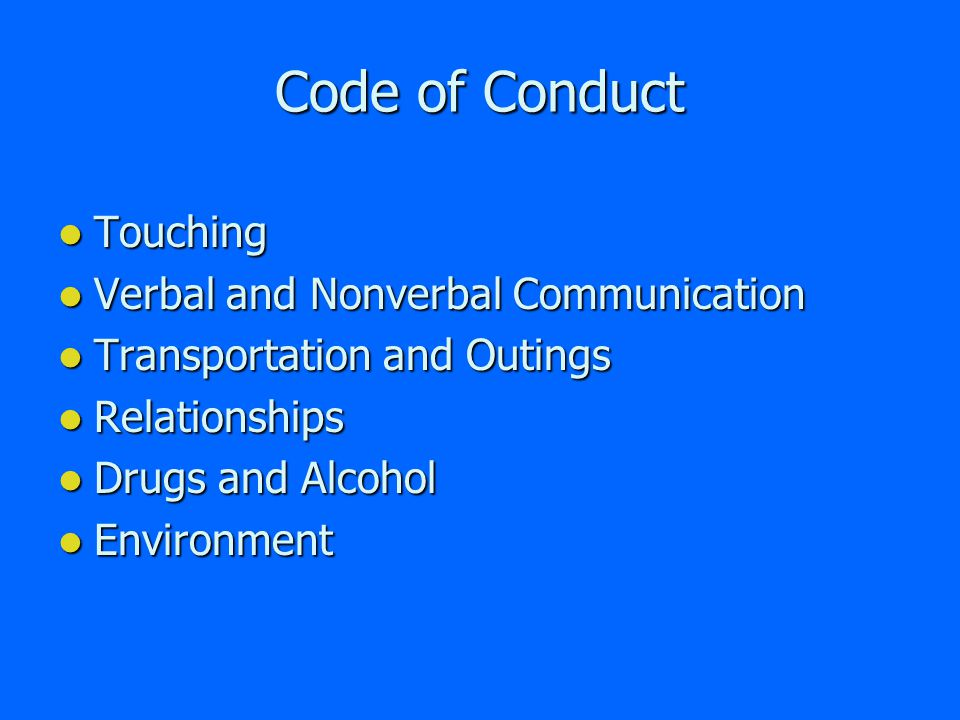Code of Conduct The Diocesan Code of Conduct is contained within the Diocesan Administrative Policy for Responding to Allegations of Sexual Abuse and Inappropriate Behavior By Church Personnel.