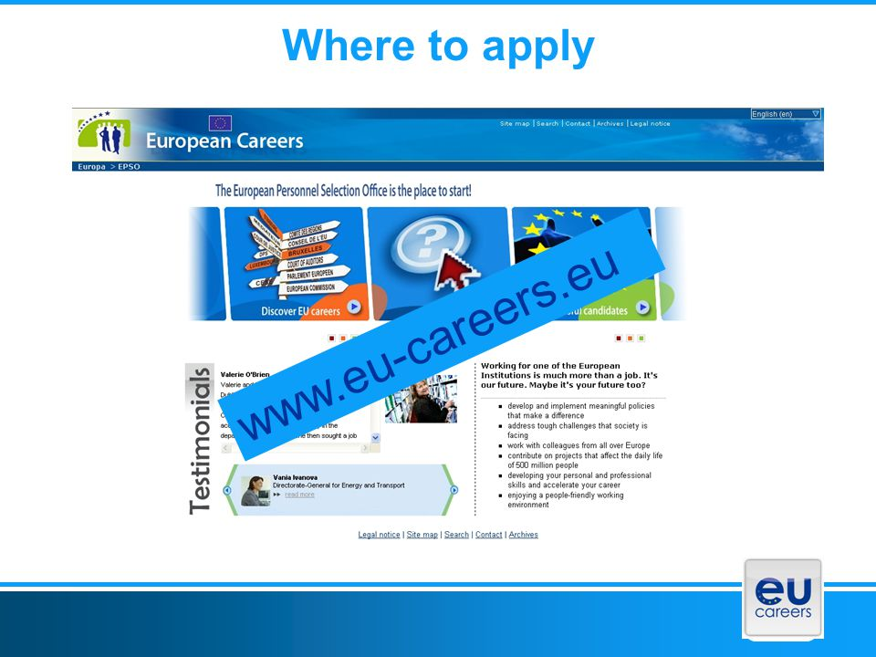 Where to apply www.eu-careers.eu