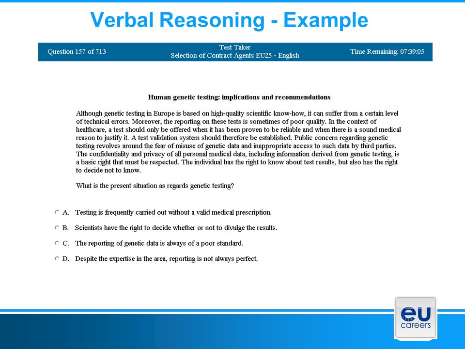 Verbal Reasoning - Example