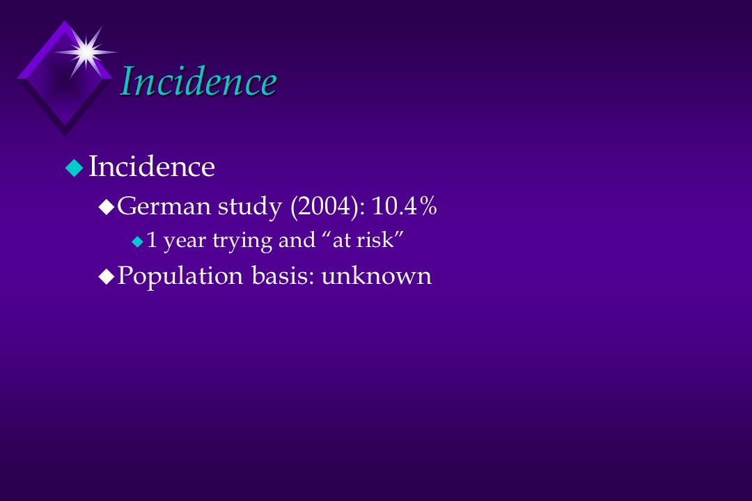 Incidence u Incidence u German study (2004): 10.4% u 1 year trying and at risk u Population basis: unknown