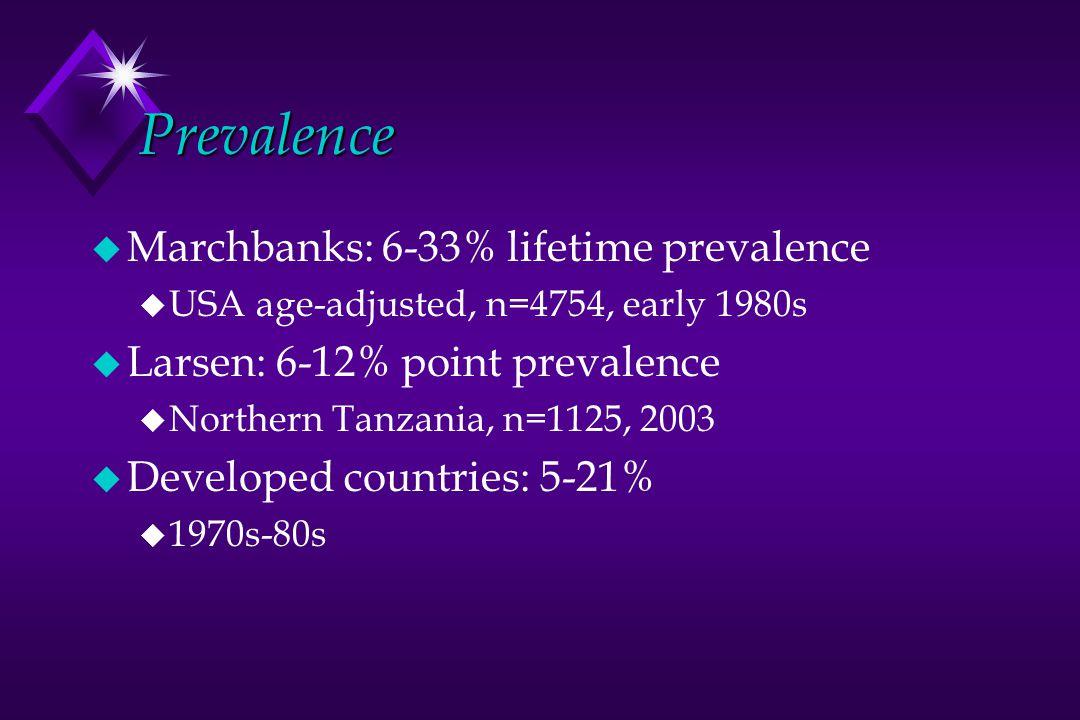 Prevalence u Marchbanks: 6-33% lifetime prevalence u USA age-adjusted, n=4754, early 1980s u Larsen: 6-12% point prevalence u Northern Tanzania, n=112