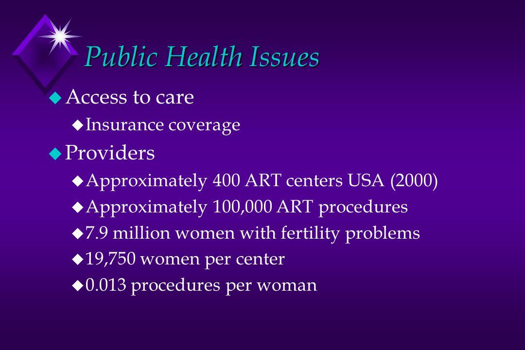 Public Health Issues u Access to care u Insurance coverage u Providers u Approximately 400 ART centers USA (2000) u Approximately 100,000 ART procedur