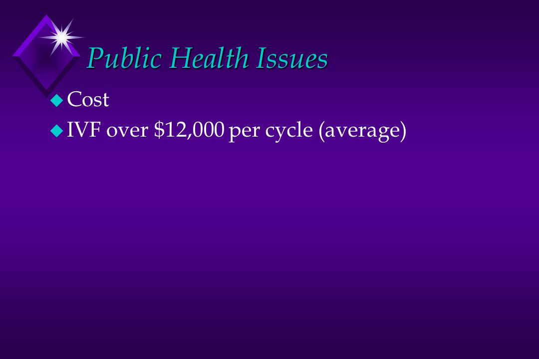 Public Health Issues u Cost u IVF over $12,000 per cycle (average)