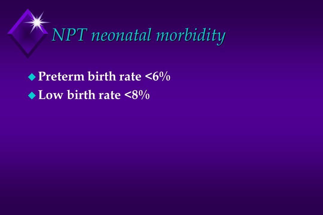 NPT neonatal morbidity u Preterm birth rate <6% u Low birth rate <8%