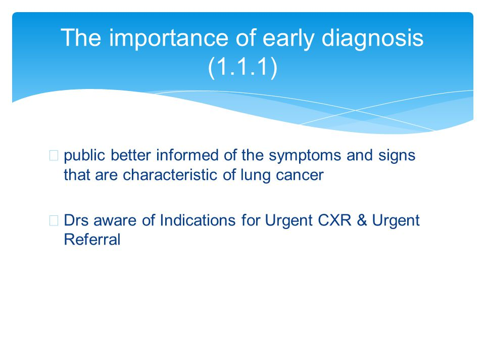 ∗ public better informed of the symptoms and signs that are characteristic of lung cancer ∗ Drs aware of Indications for Urgent CXR & Urgent Referral