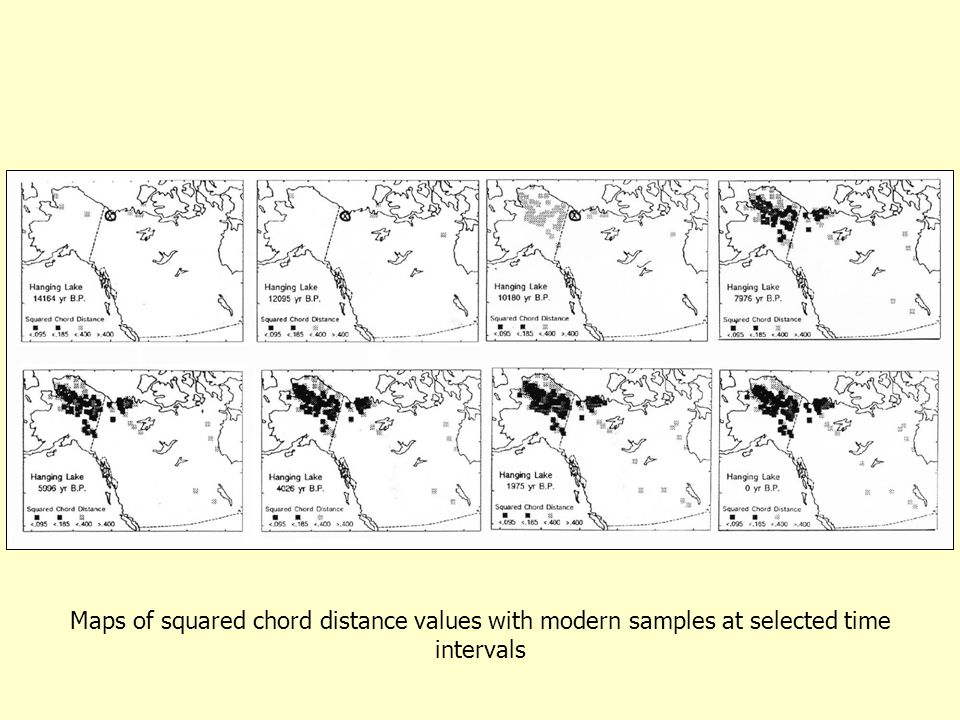 Maps of squared chord distance values with modern samples at selected time intervals