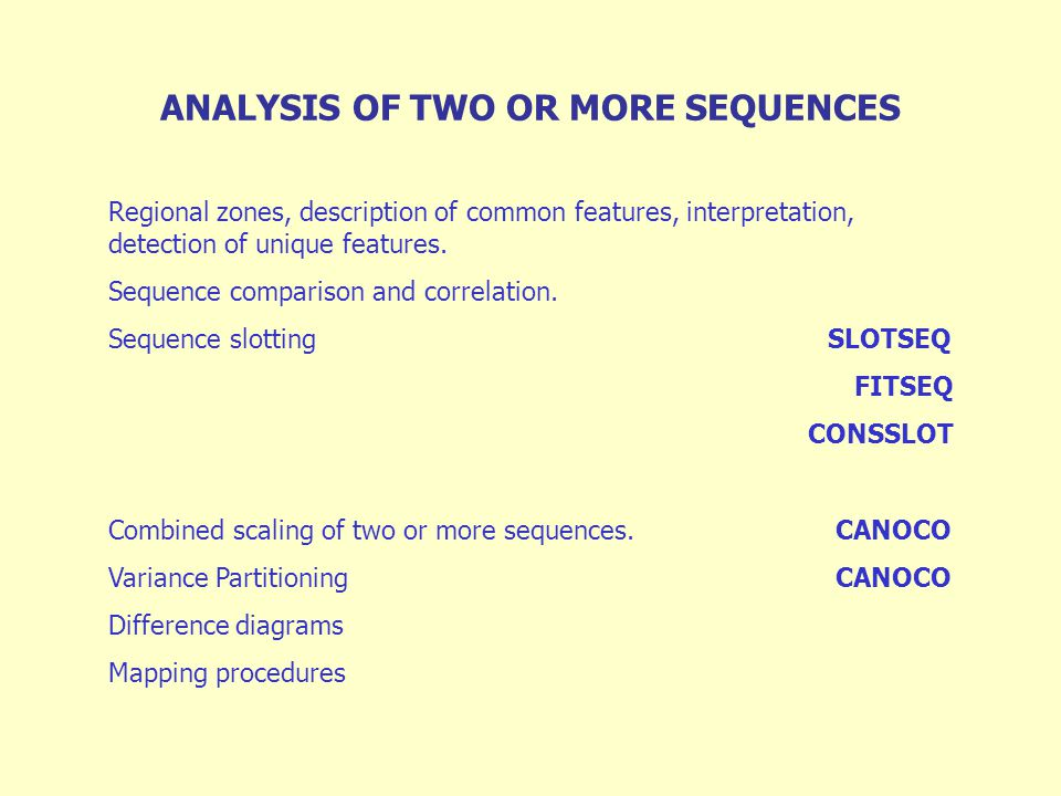 Regional zones, description of common features, interpretation, detection of unique features.