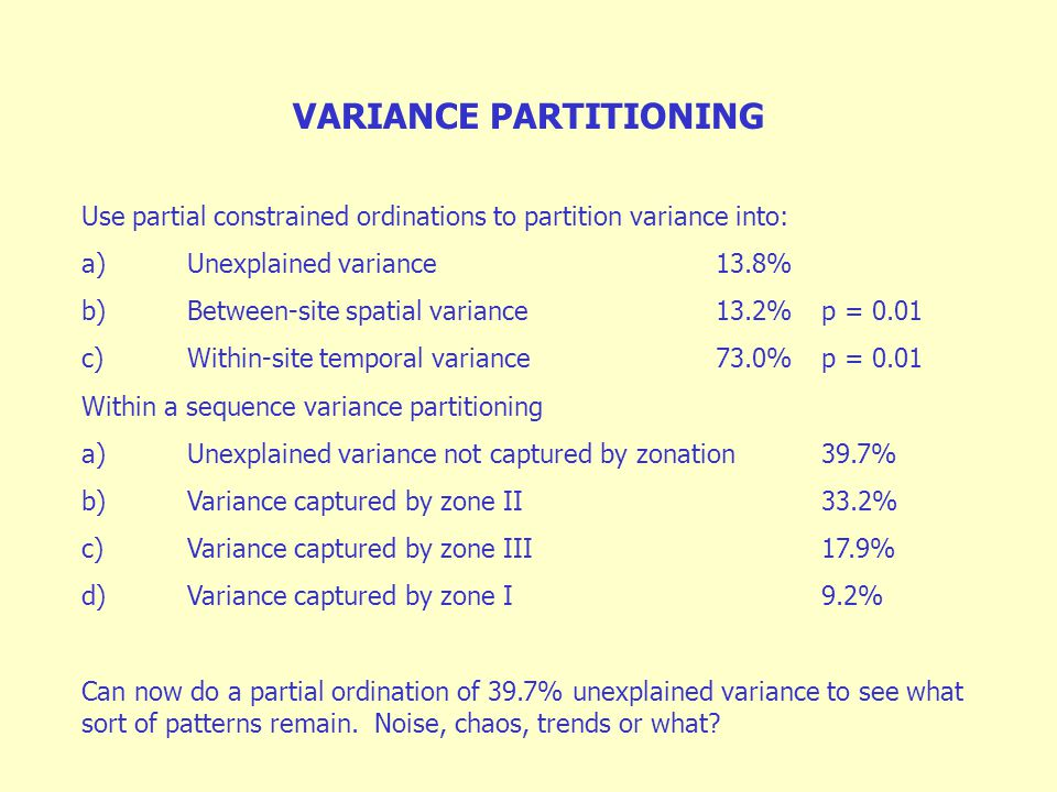 VARIANCE PARTITIONING Use partial constrained ordinations to partition variance into: a)Unexplained variance 13.8% b)Between-site spatial variance13.2%p = 0.01 c)Within-site temporal variance73.0%p = 0.01 Within a sequence variance partitioning a)Unexplained variance not captured by zonation39.7% b)Variance captured by zone II33.2% c)Variance captured by zone III17.9% d)Variance captured by zone I9.2% Can now do a partial ordination of 39.7% unexplained variance to see what sort of patterns remain.