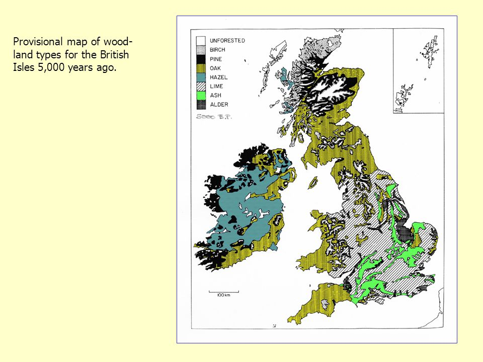 Provisional map of wood- land types for the British Isles 5,000 years ago.