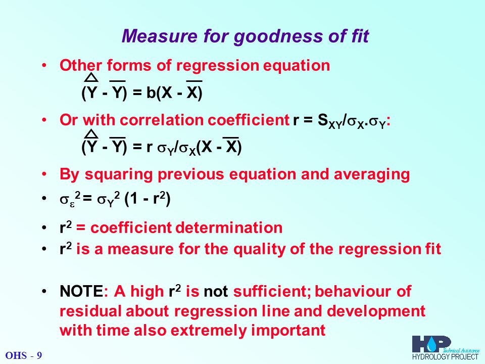 Measure for goodness of fit Other forms of regression equation (Y - Y) = b(X - X) Or with correlation coefficient r = S XY /  X.