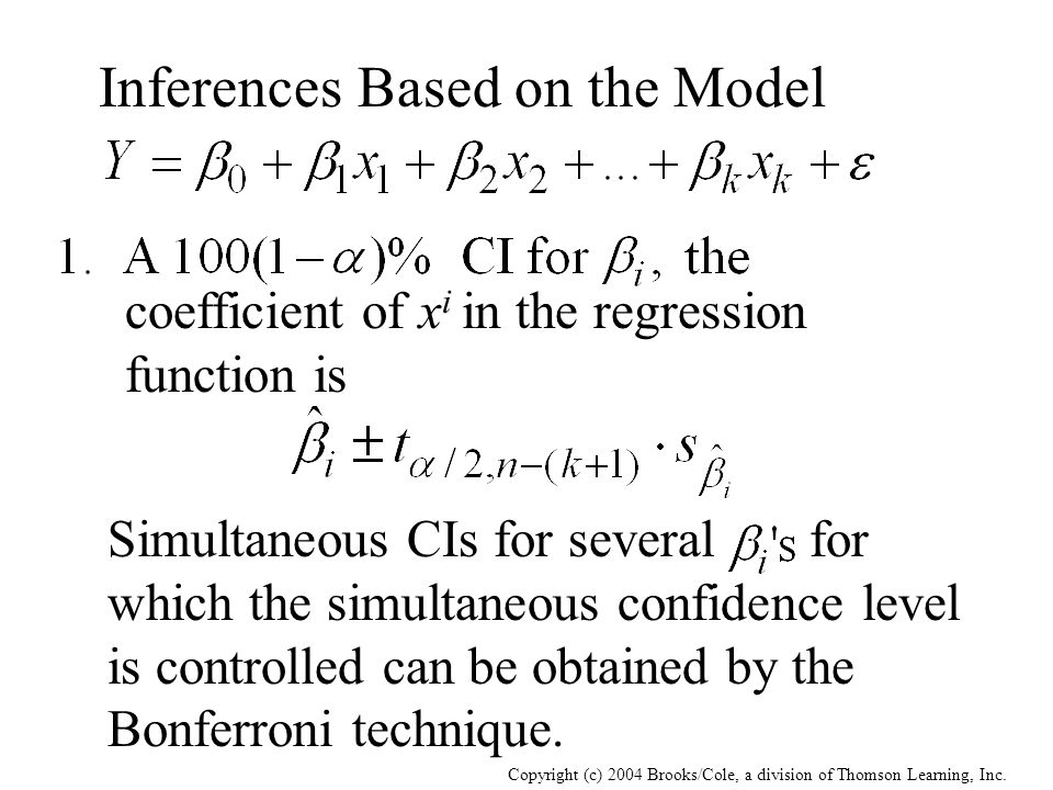Copyright (c) 2004 Brooks/Cole, a division of Thomson Learning, Inc. coefficient of x i in the regression function is Inferences Based on the Model Si