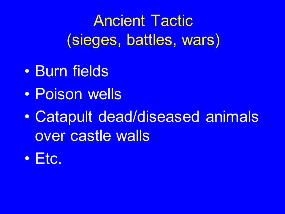 Ancient Tactic (sieges, battles, wars) Burn fields Poison wells Catapult dead/diseased animals over castle walls Etc.