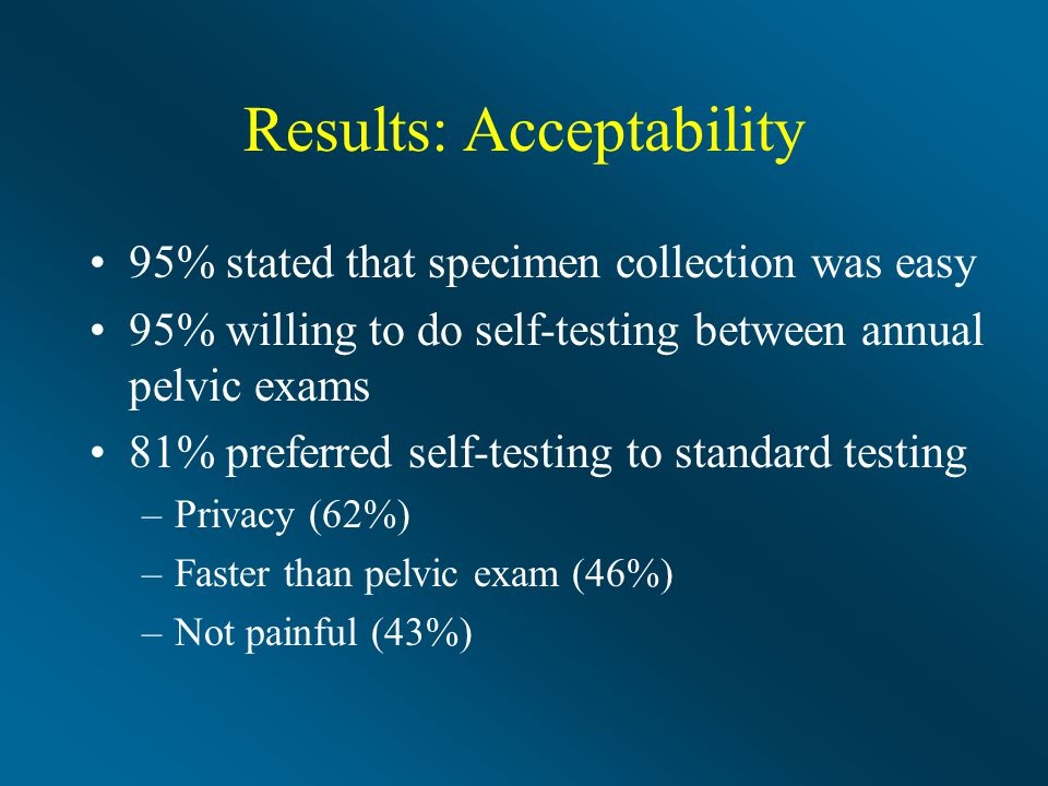 Results: Acceptability 95% stated that specimen collection was easy 95% willing to do self-testing between annual pelvic exams 81% preferred self-testing to standard testing –Privacy (62%) –Faster than pelvic exam (46%) –Not painful (43%)