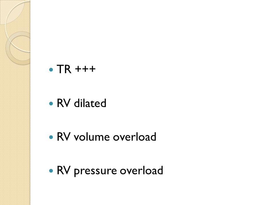 TR +++ RV dilated RV volume overload RV pressure overload