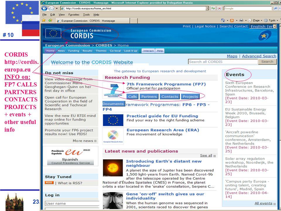 23/04/2010 # 10 CORDIS http://cordis.