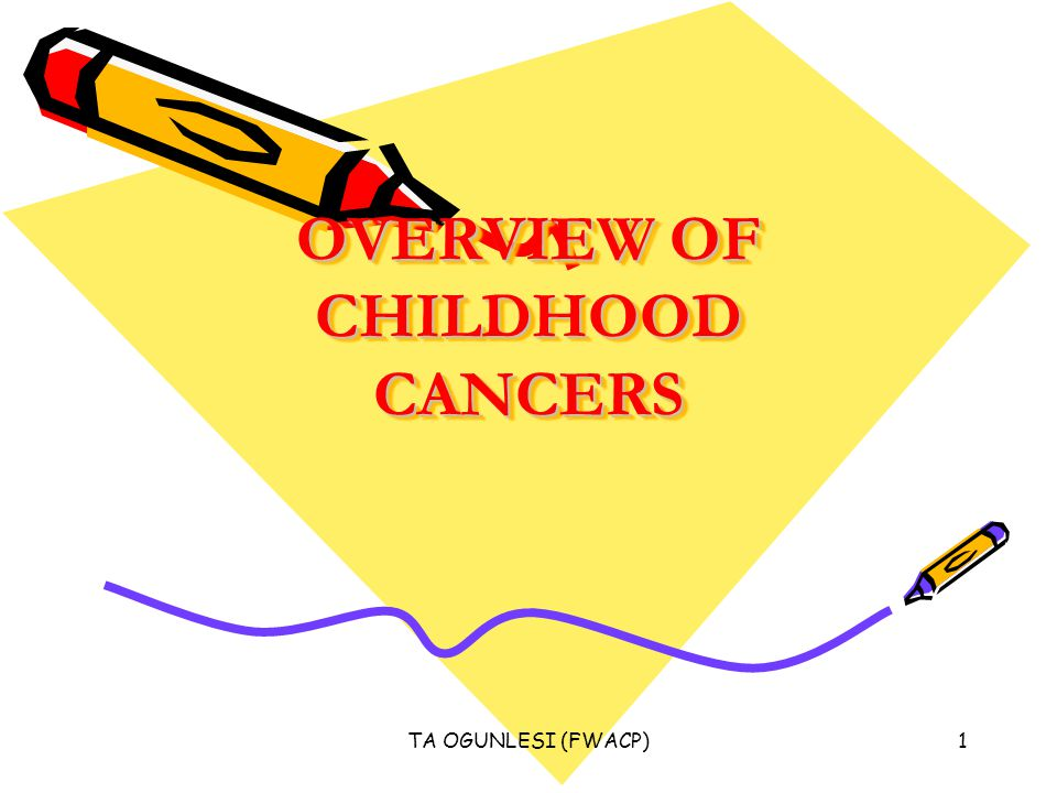 TA OGUNLESI (FWACP)1 OVERVIEW OF CHILDHOOD CANCERS