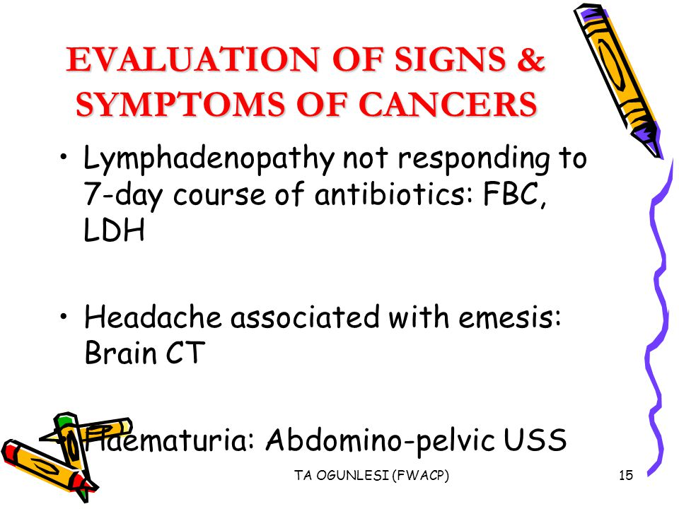 TA OGUNLESI (FWACP)15 EVALUATION OF SIGNS & SYMPTOMS OF CANCERS Lymphadenopathy not responding to 7-day course of antibiotics: FBC, LDH Headache associated with emesis: Brain CT Haematuria: Abdomino-pelvic USS