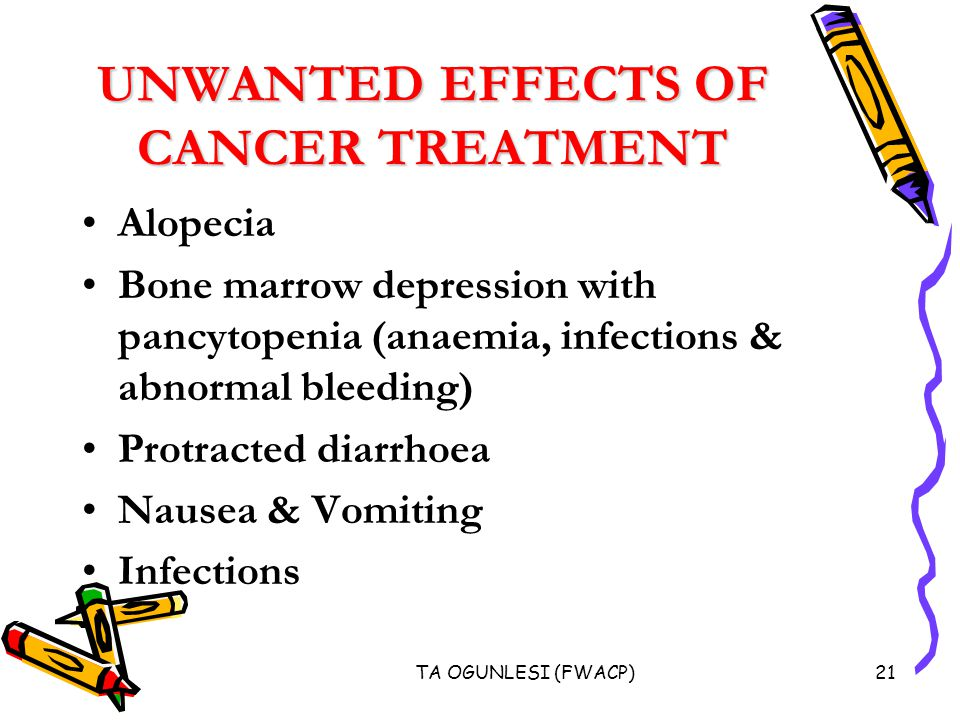 TA OGUNLESI (FWACP)21 UNWANTED EFFECTS OF CANCER TREATMENT Alopecia Bone marrow depression with pancytopenia (anaemia, infections & abnormal bleeding) Protracted diarrhoea Nausea & Vomiting Infections