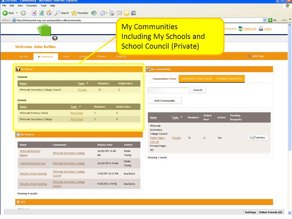 My Communities Including My Schools and School Council (Private)