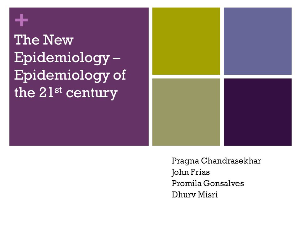 + The New Epidemiology – Epidemiology of the 21 st century Pragna Chandrasekhar John Frias Promila Gonsalves Dhurv Misri