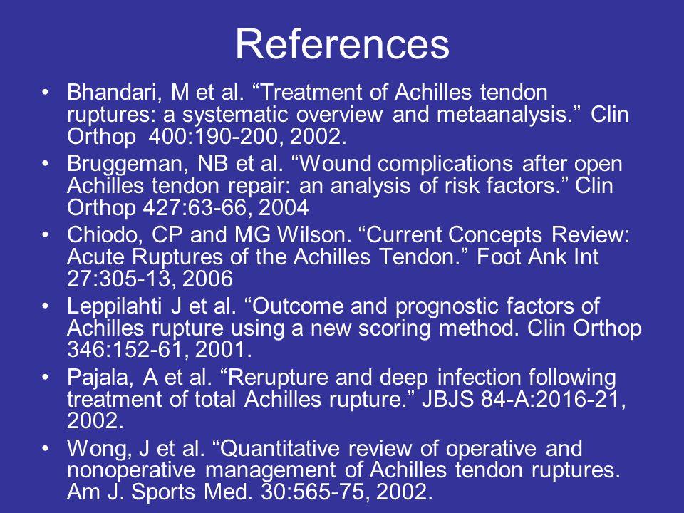 References Bhandari, M et al.