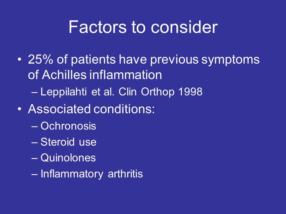 Factors to consider 25% of patients have previous symptoms of Achilles inflammation –Leppilahti et al.