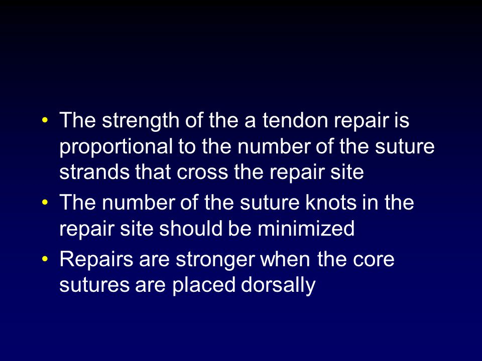 The strength of the a tendon repair is proportional to the number of the suture strands that cross the repair site The number of the suture knots in t