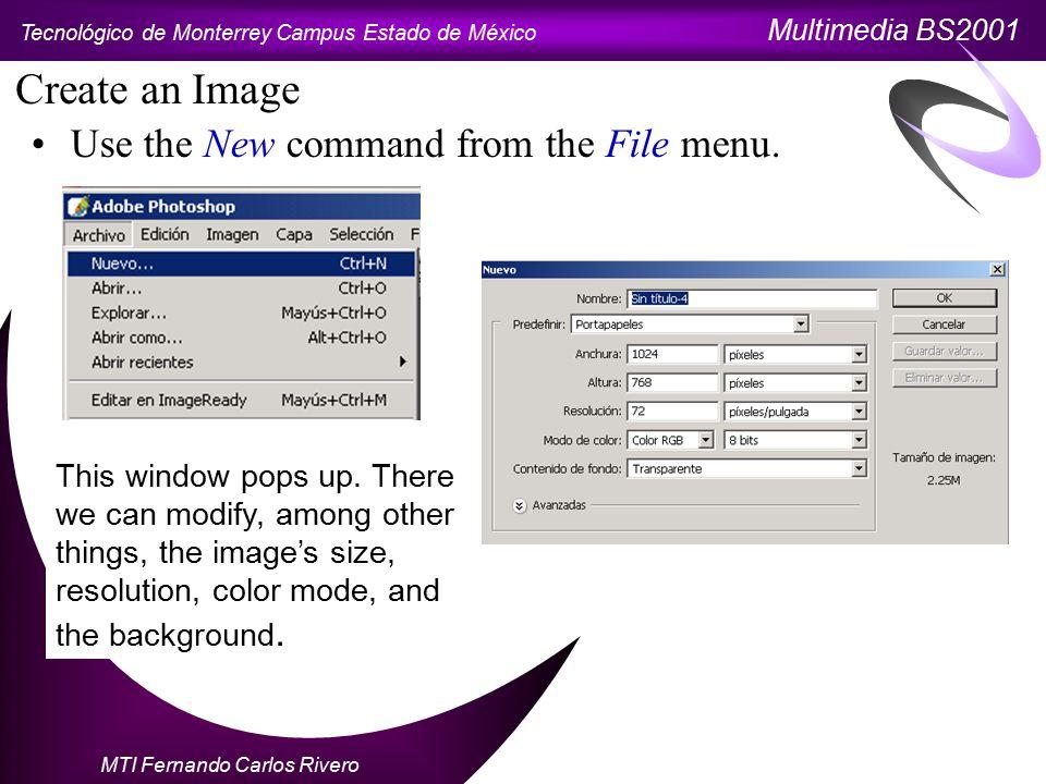 Tecnológico de Monterrey Campus Estado de México Multimedia BS2001 MTI Fernando Carlos Rivero Open an Image To open an image, click on Open from the File menu.