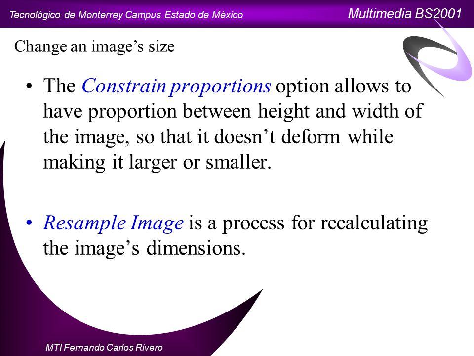Tecnológico de Monterrey Campus Estado de México Multimedia BS2001 MTI Fernando Carlos Rivero Change canvas size The canvas is the square where your image appears.