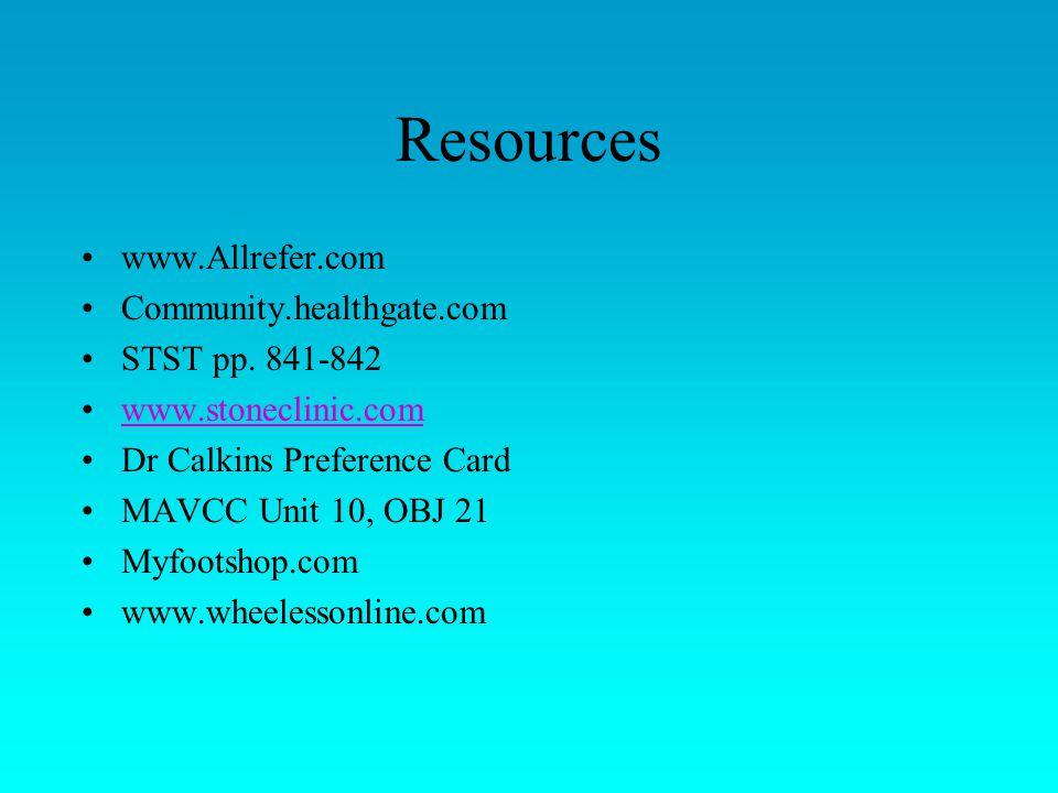 Resources www.Allrefer.com Community.healthgate.com STST pp.